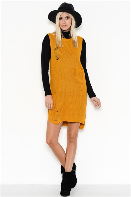 DISTRESSED SWEATER DRESS - orangeshine.com
