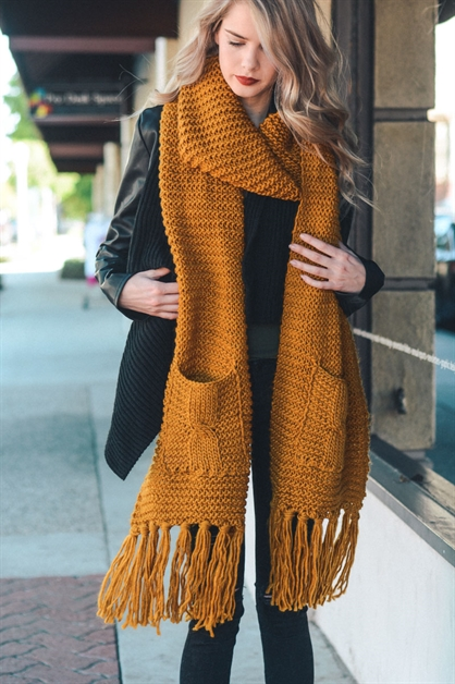 Chunky Oversized Pocket Scarf - orangeshine.com