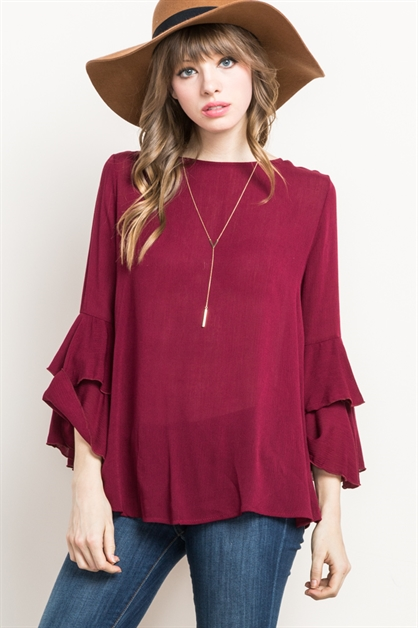 RUFFLE-LAYER BELL SLEEVED TOP - orangeshine.com