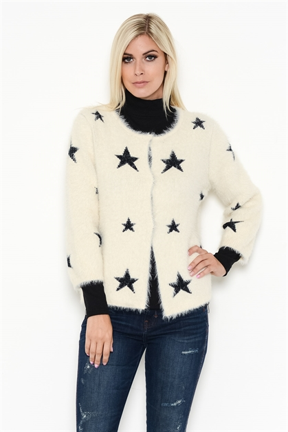 STARRED EYELASH KNIT SWEATER - orangeshine.com