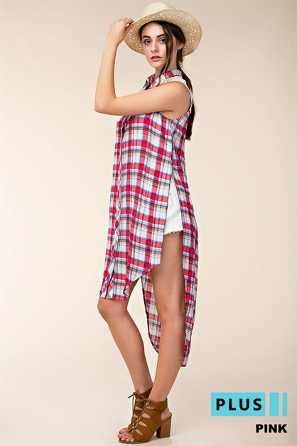 PLUZ SZ  PLAID SHIRT TOP - orangeshine.com