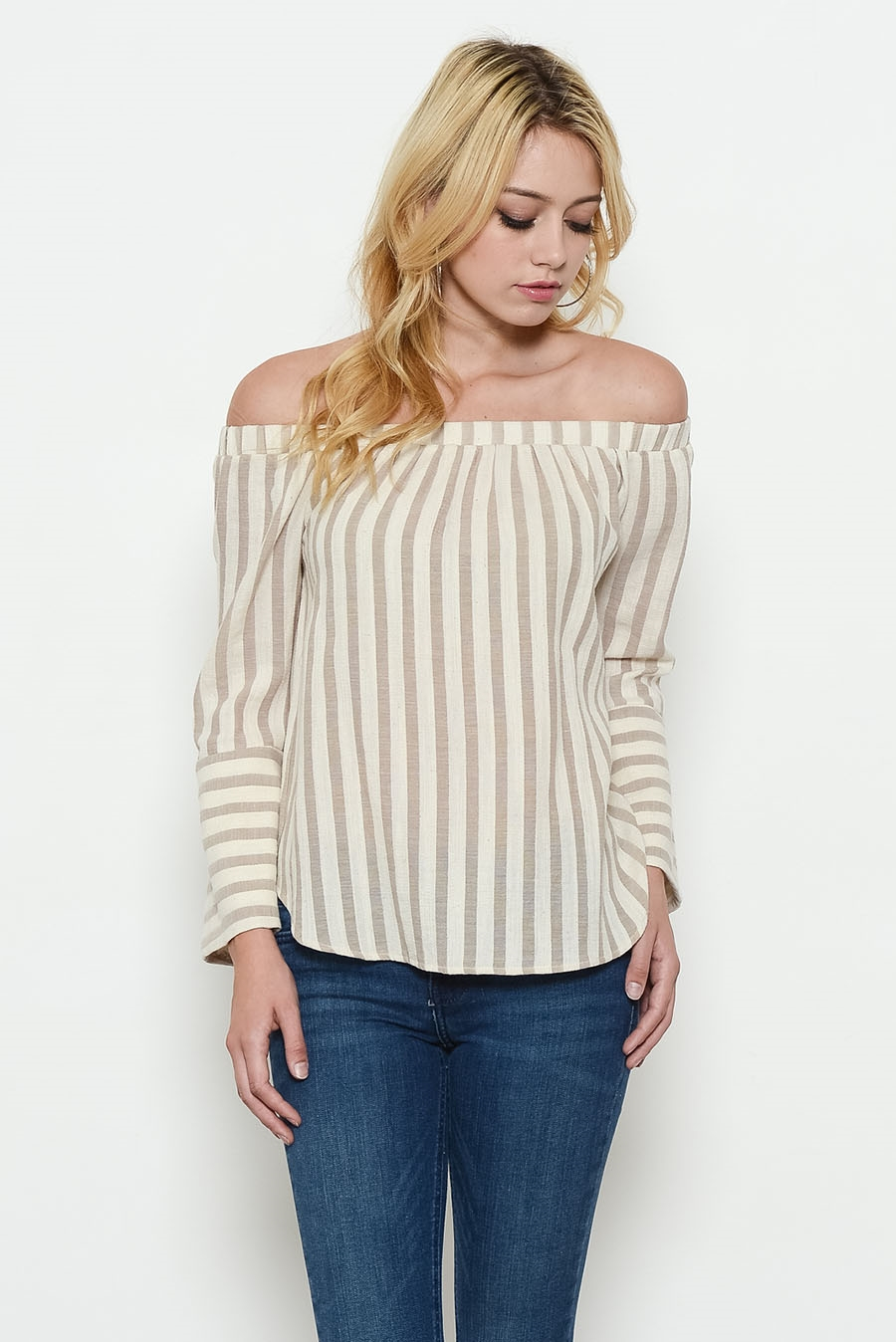 LINEN STRIPE OFF SHOULDER - orangeshine.com