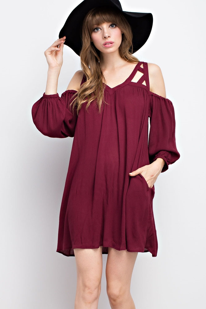 STRAPPY OPEN SHOULDER DRESS - orangeshine.com