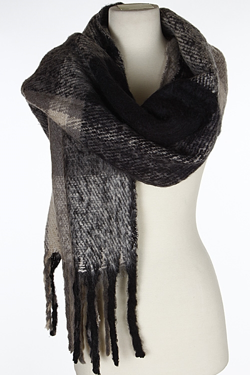 Fancy Patterned Fringed Scarf - orangeshine.com