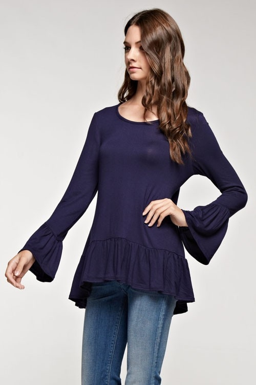 Ruffled cuff and hem top - orangeshine.com