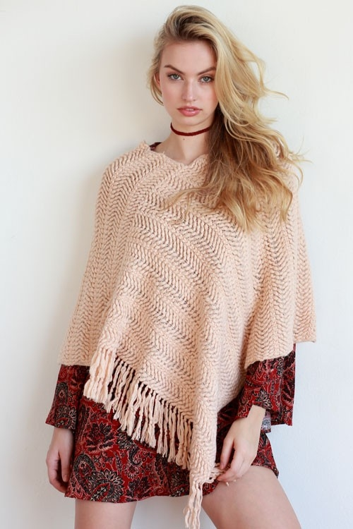 CROCHET KNITTED PONCHO - orangeshine.com