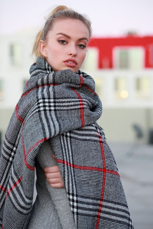 BRITISH PLAID PATTERN SHAWL - orangeshine.com