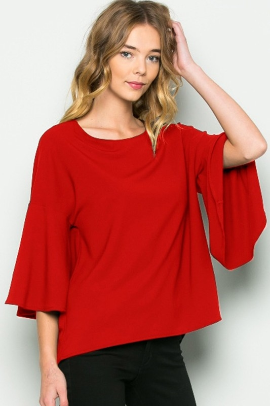 HEAVY STRETCH WOVEN BELL TOP - orangeshine.com
