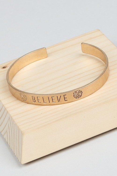 BELIEVE ETCHED METALLIC BANGLE - orangeshine.com