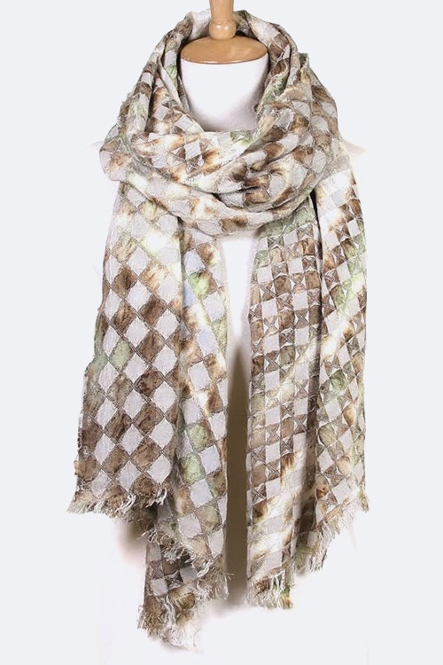 Abstract Mosaic Pattern Scarf - orangeshine.com