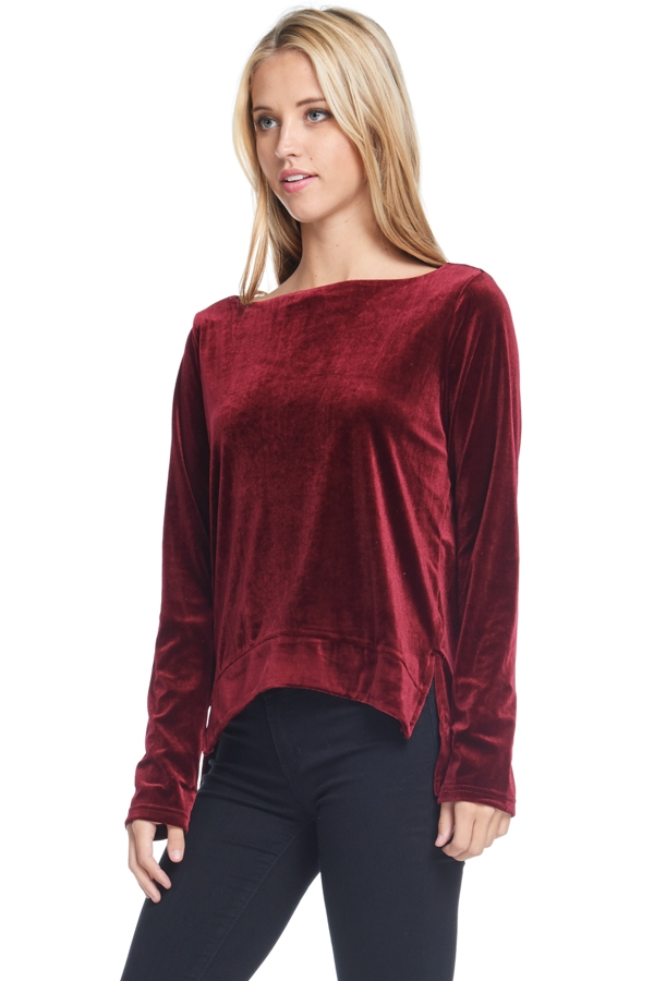 LONG SLEEVE SOLID VELVET TOP - orangeshine.com
