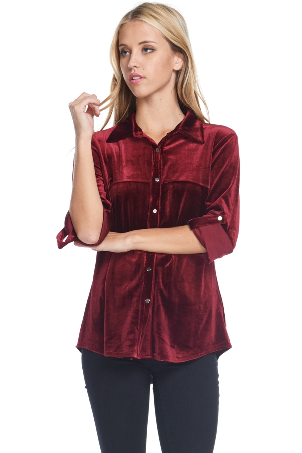 ROLL-UP SLEEVE VELVET TOP - orangeshine.com