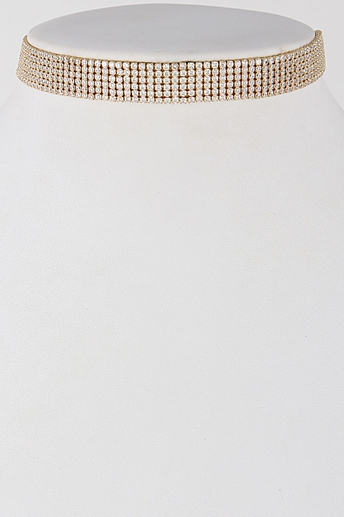 Rhinestone Choker Necklace - orangeshine.com
