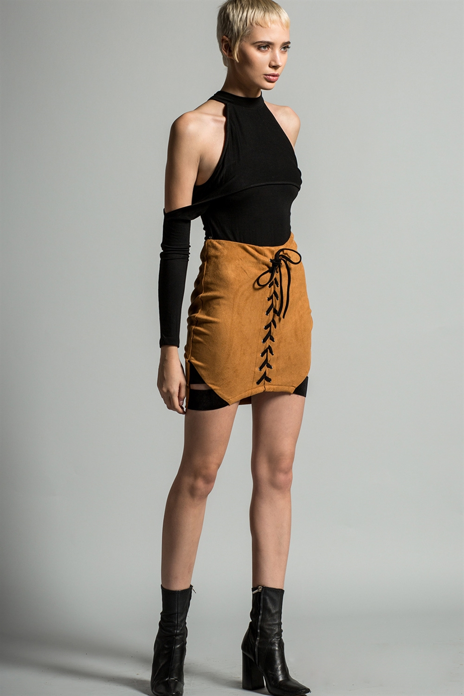 Suede Lace Up Skirt - orangeshine.com