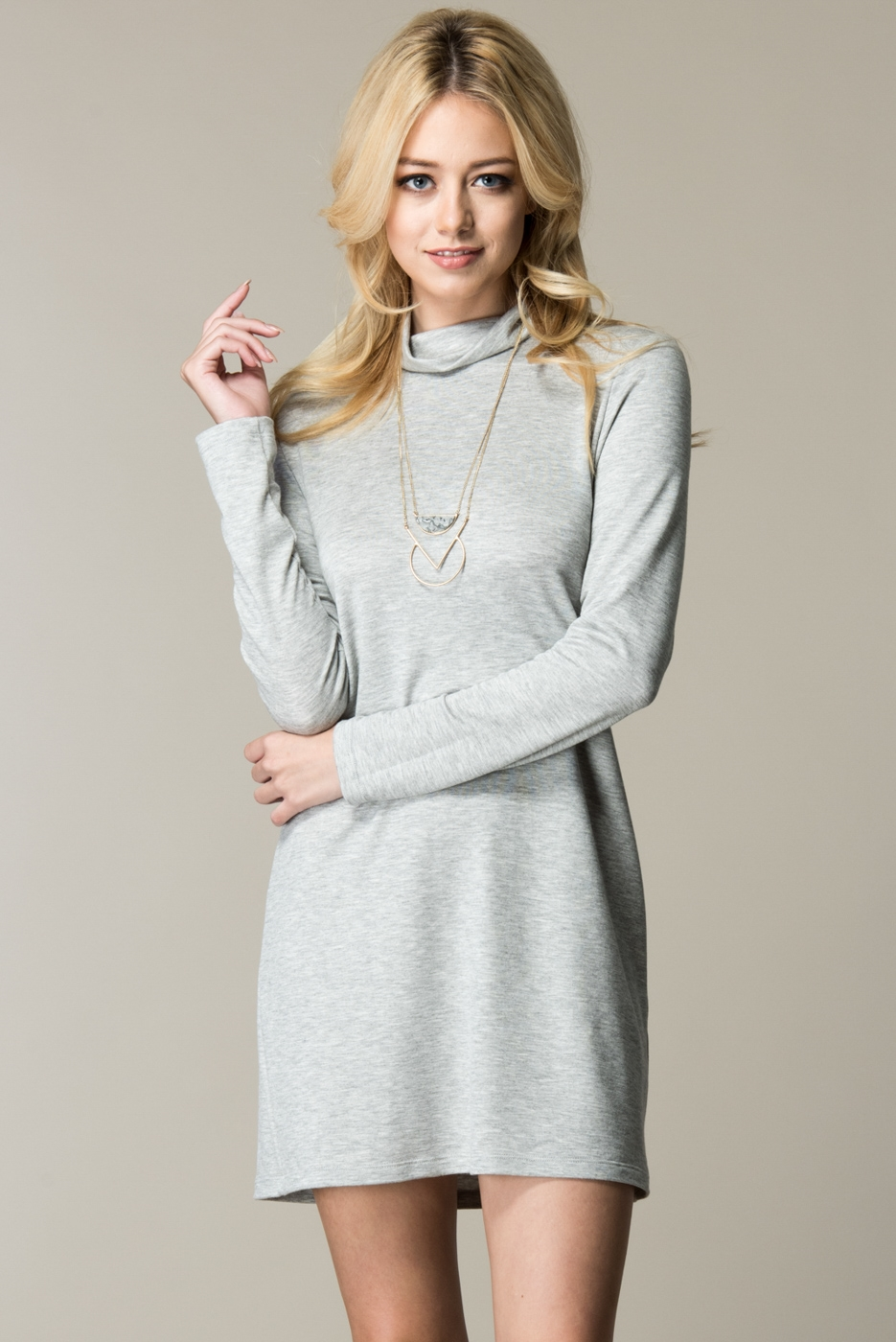 LONG SLEEVE MOCK NECK DRESS - orangeshine.com
