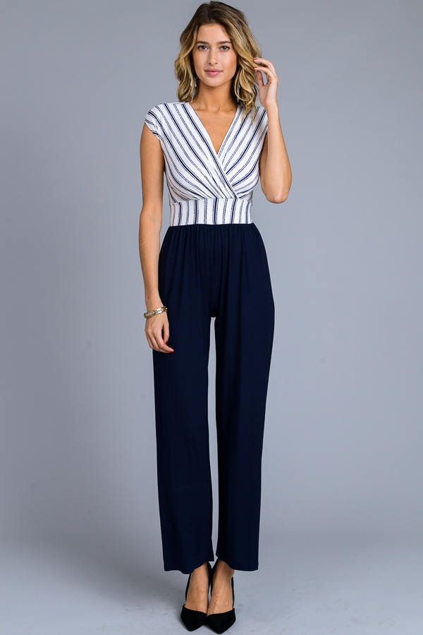 Faux Wrap Jumpsuit - orangeshine.com