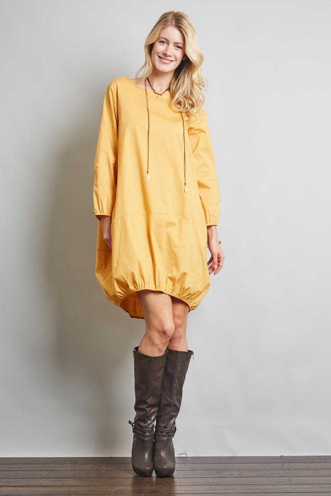 BOTTOM ELASTIC COCOON DRESS - orangeshine.com