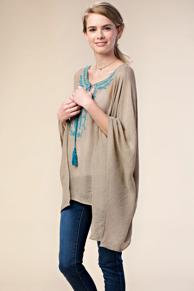EMBROIDERED BOX CUT TUNIC - orangeshine.com