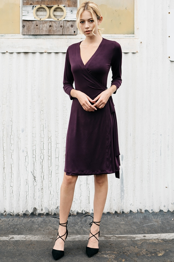 Solid Wrap Dress - orangeshine.com