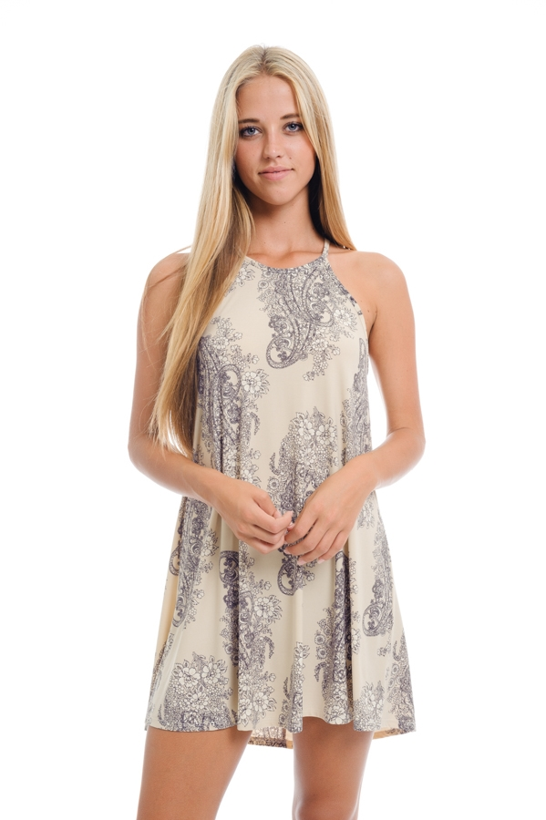 Sleeveless Floral Print Dress - orangeshine.com
