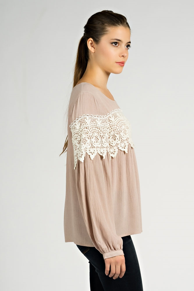 LACE DETAIL BABY DOLL BLOUSE - orangeshine.com
