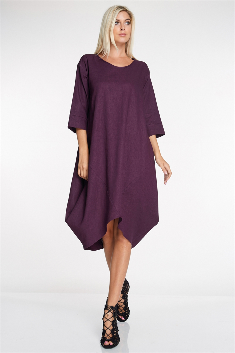 3/4 Sleeve Linen Tulip Dress - orangeshine.com