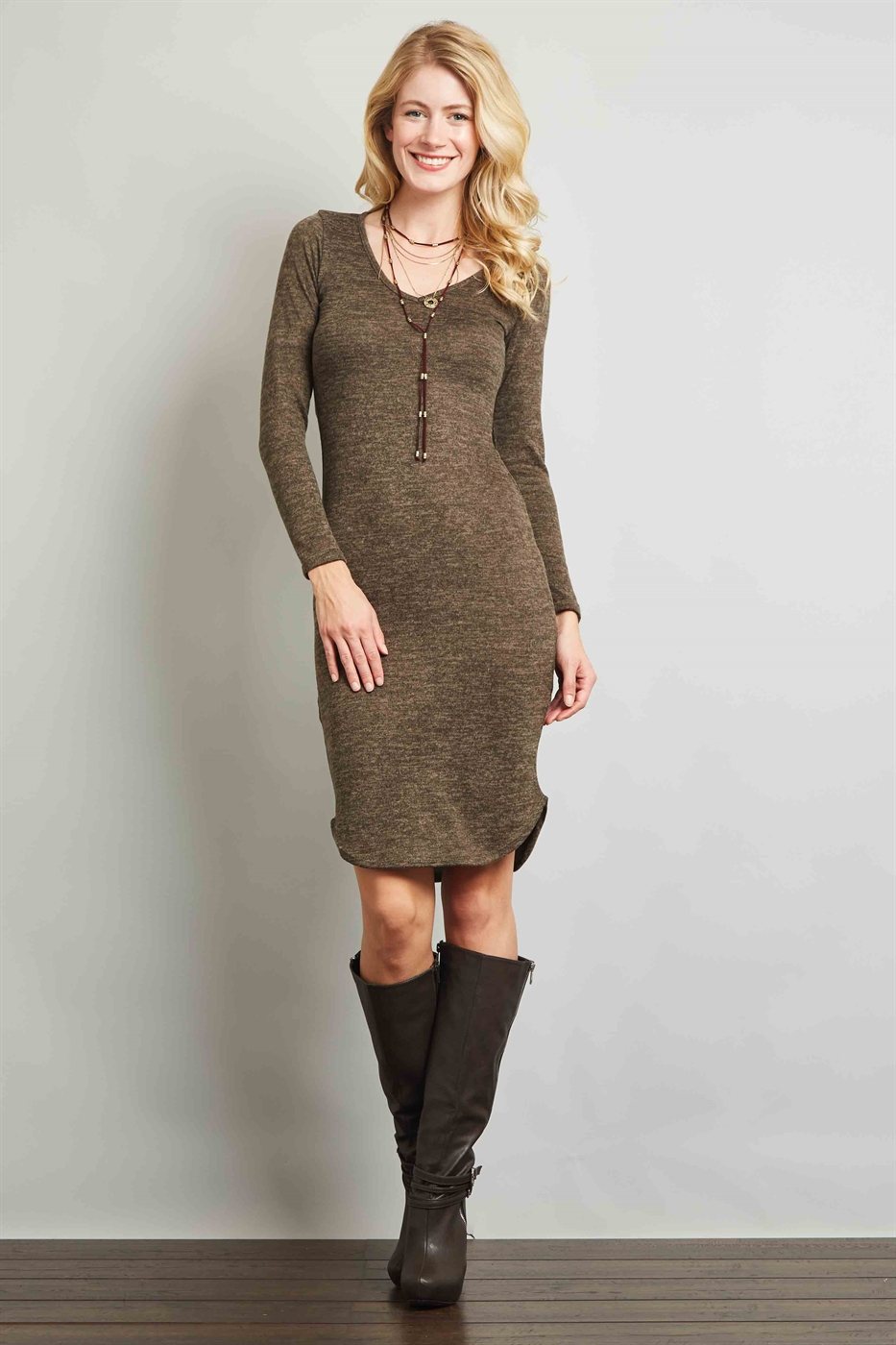 V-NECK KNIT DRESS - orangeshine.com