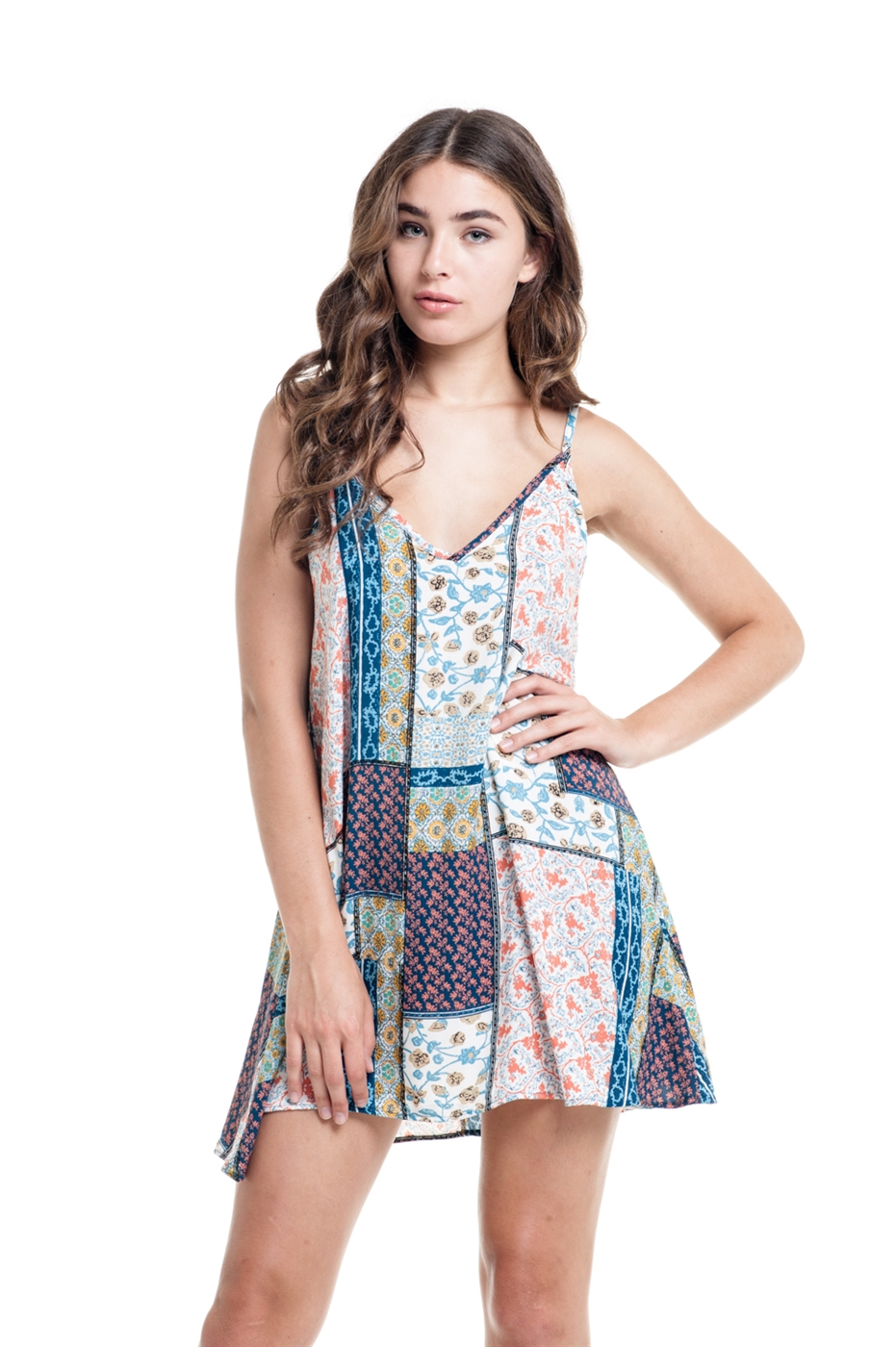 QUILT PATCH PRINT DRESS - orangeshine.com