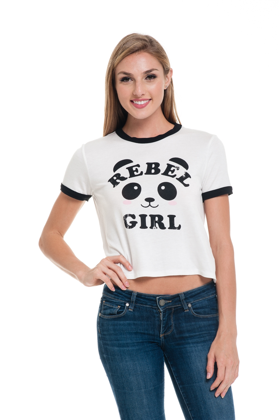 PANDA REBEL GIRL RINGER TEE - orangeshine.com