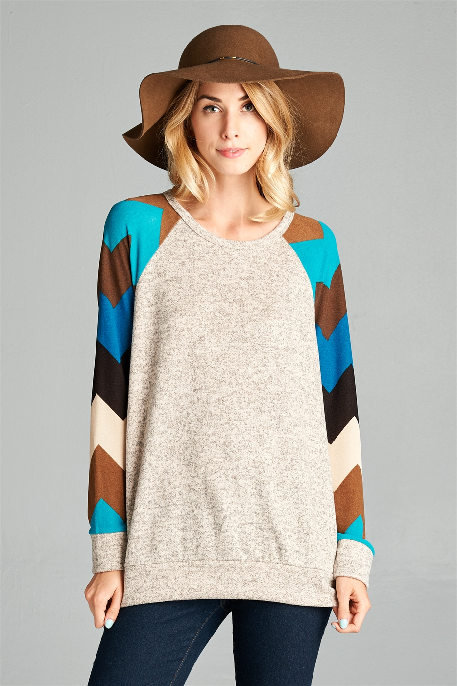 multi color stripes sleeve top - orangeshine.com