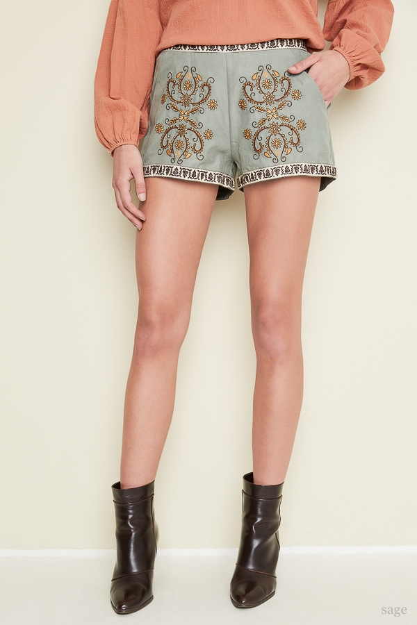 Embroidered Shorts - orangeshine.com