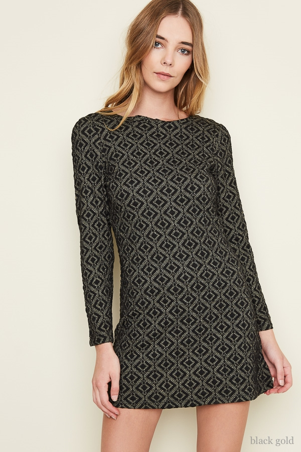 Long Sleeve Jacquard Dress - orangeshine.com