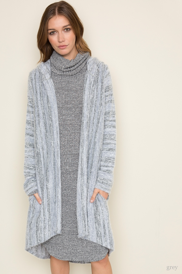 Fuzzy Long Hooded Sweater - orangeshine.com
