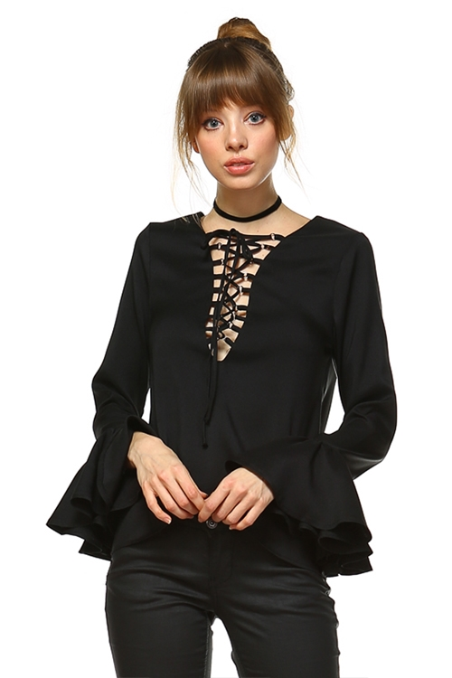 LACE UP BELL SLEEVES - orangeshine.com