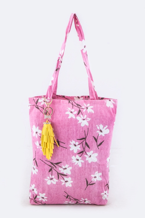 Flower Print Fashion Tote - orangeshine.com