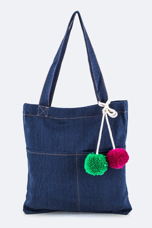 Plush Pom Pom Denim Pouch - orangeshine.com