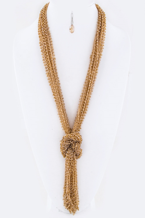 Layer Beads Knotted Necklace - orangeshine.com