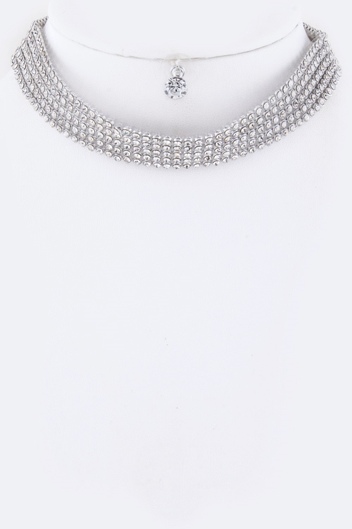 Layer Crystal Choker Necklace - orangeshine.com