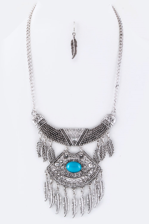 Fringe Feathers Bib Necklace - orangeshine.com
