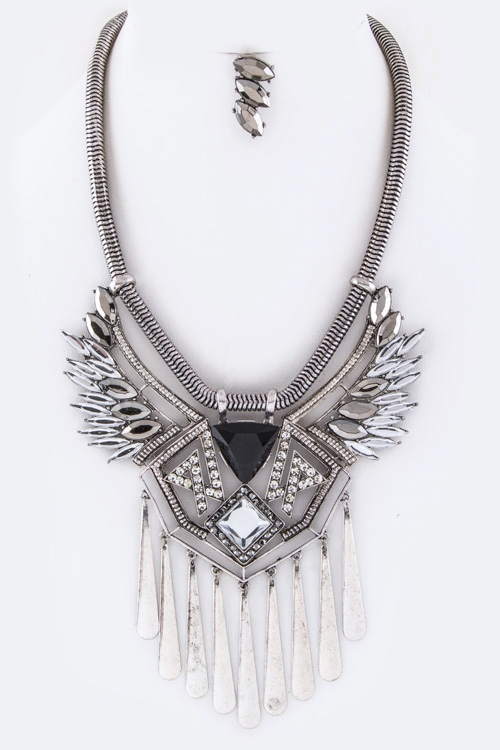 Crystals Fringe Bars Necklace - orangeshine.com