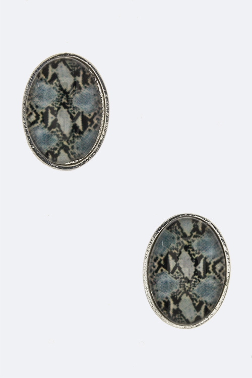 Animal Print Oval Studs - orangeshine.com