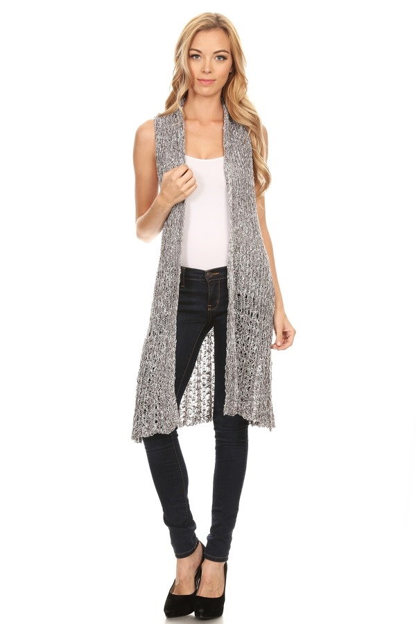Knitted long body vest - orangeshine.com