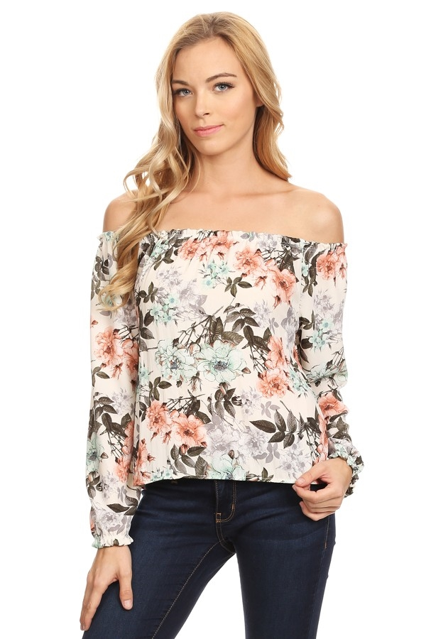 Floral printed off shoulder - orangeshine.com