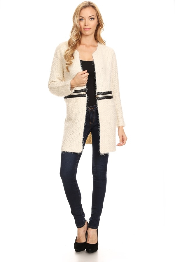 Textured long body cardigan - orangeshine.com