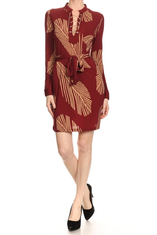 Feather printed mini dress - orangeshine.com