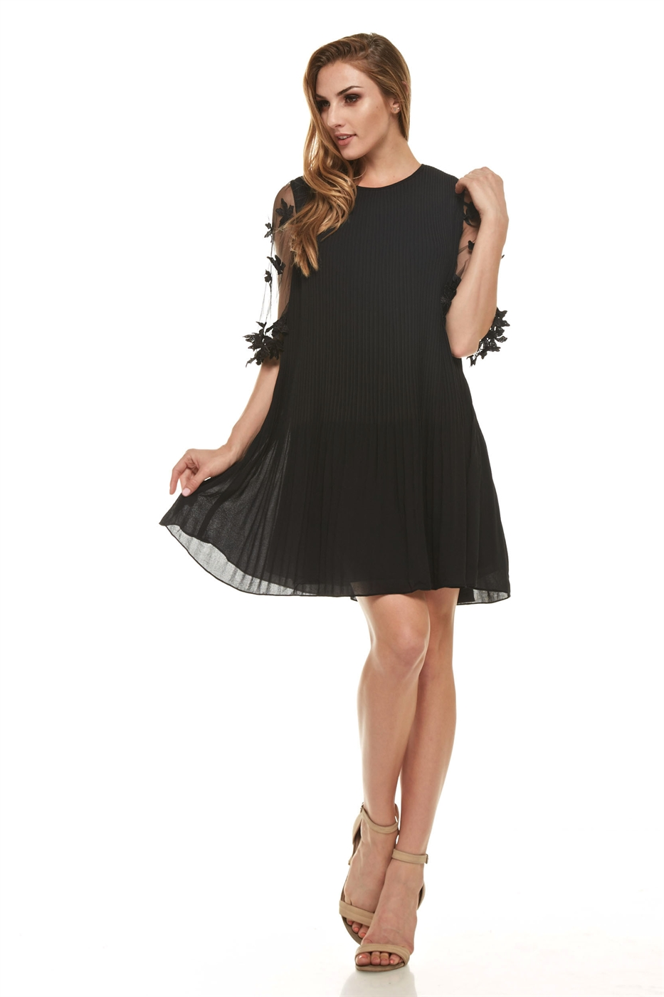 Pleated Sheer Sleeve Dress - orangeshine.com