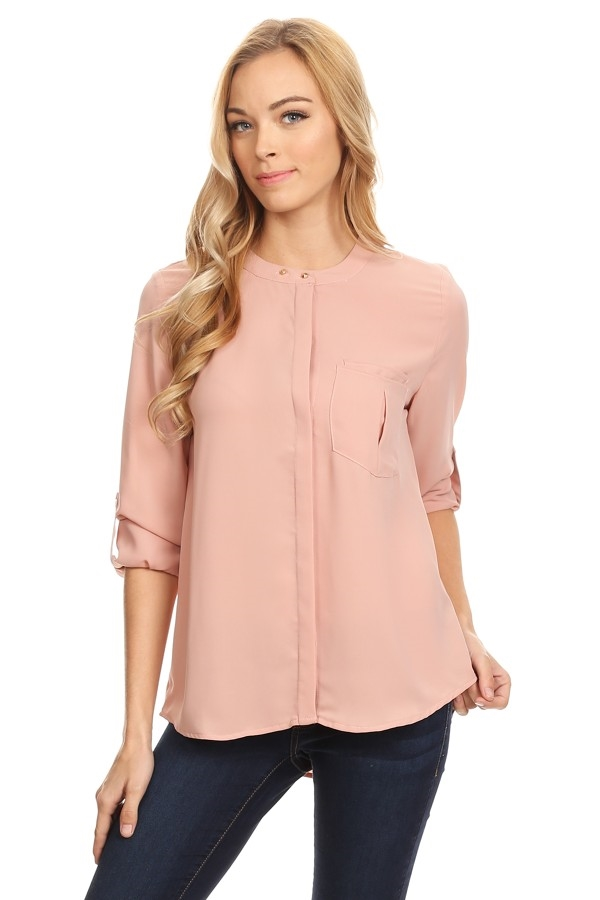 Button Up Crew neck Blouse - orangeshine.com