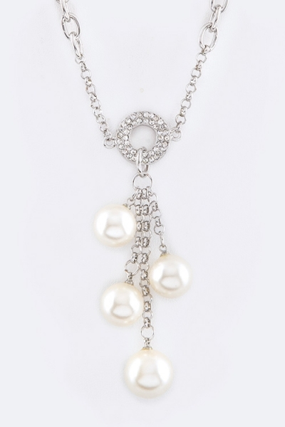 Crystal Ring  Pearls Necklace - orangeshine.com