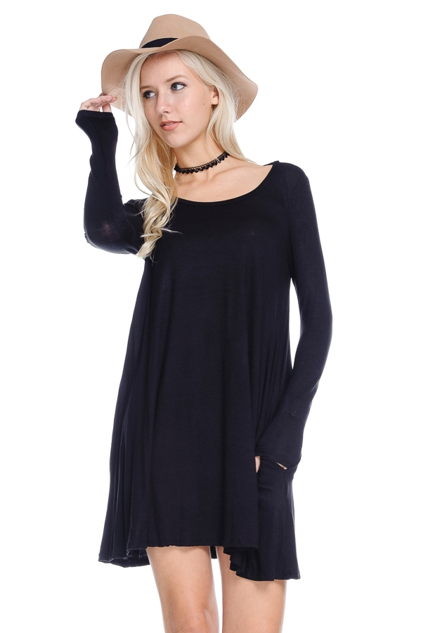 Solid Long Sleeve A-line Dress - orangeshine.com