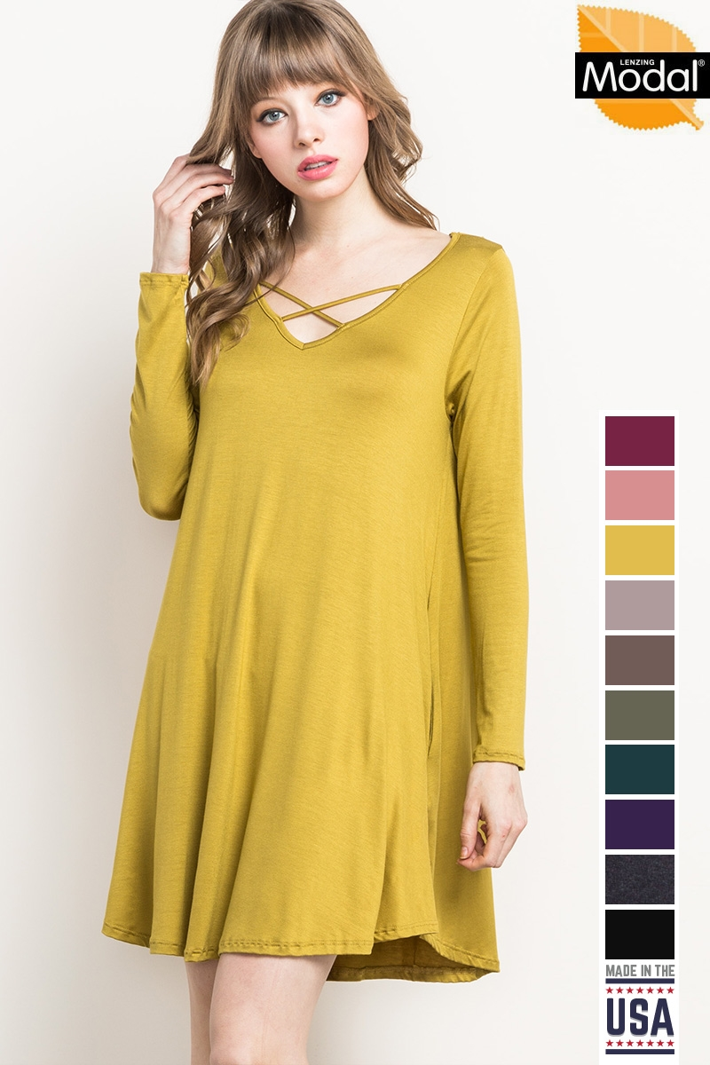 CROSS-FRONT KNIT POCKET DRESS - orangeshine.com